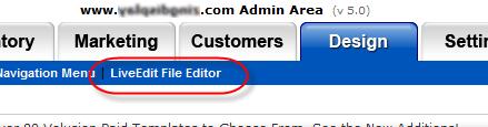 LiveEdit File Editor in Volusion v5.0
