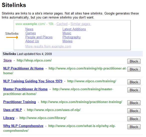 Managing Volusion Sitelinks with Google Webmaster Tools