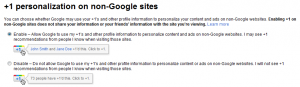 Personalization of Google Plus One Settings