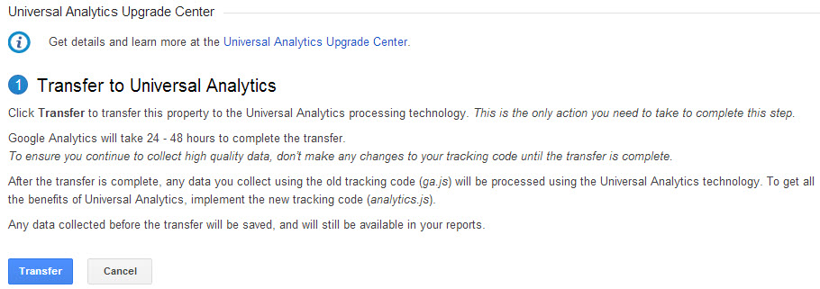 Transfer to Universal Analytics