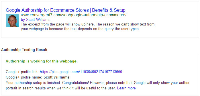 Rich Snippets Testing Tool Result